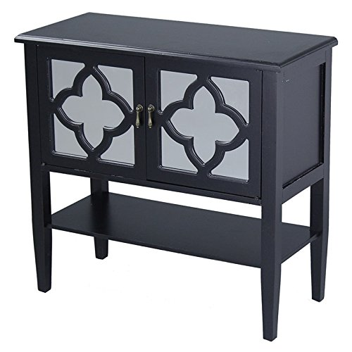 Heather Ann Creations Modern 2 Door Accent Console Cabinet With 4 Pane Clover Mirror Insert and Bottom Shelf Black by Heather Ann Creations