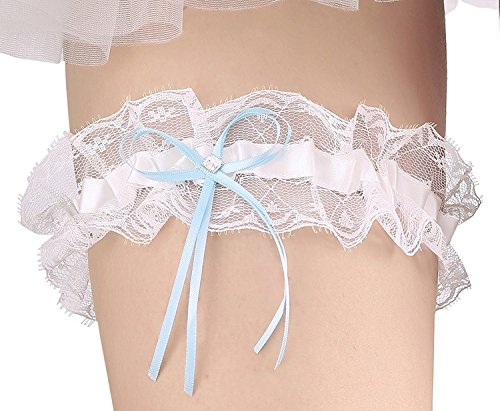 Merya Dress Lace Wedding Garter for Bride Stretch Crystal Prom Garter with Crystal Bow Detail Blue-Ivory Detail Bow