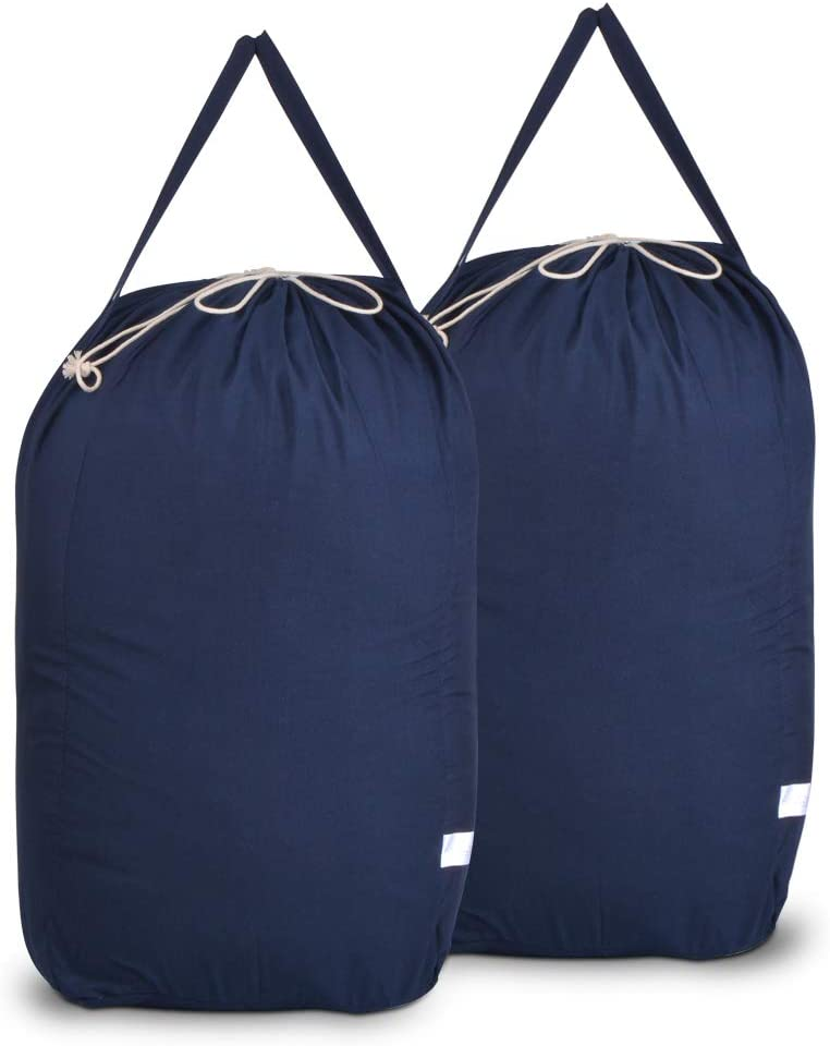 MCleanPin Washable Cotton Laundry Bags with Handles,Dirty Clothes Storage for College Dorm or Travel, Laundry Liner Fit Laundry Hamper or Basket,2 Pack,Brown (Navy Blue)