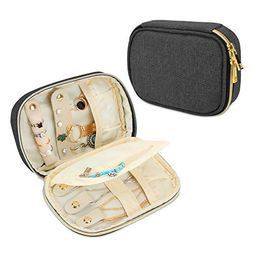 Teamoy Small Jewelry Travel Case, Portable Jewelry Organizer Bag for Earrings, Necklace, Rings and More, Small, Black-(Bag Only)