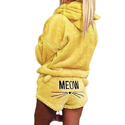 Yefree Pijamas de otoño e Invierno Pijamas Kawaii Modelo de Gato Lindo con Capucha párrafo Corto Traje de Dos Piezas: Amazon.es: Ropa y accesorios