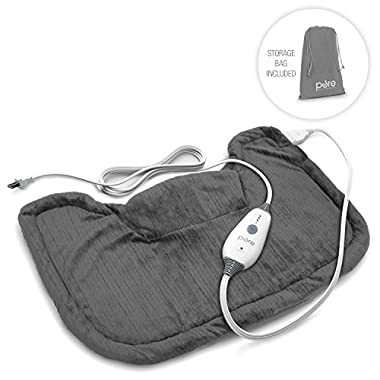PureRelief Neck & Shoulder Heating Pad with Fast-Heating Technology, Magnetic Closure & Convenient Storage Bag- Charcoal Gray