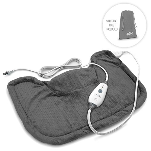 Pure Enrichment PureRelief Neck and Shoulder Heating Pad (Charcoal Gray) - Fast-Heating Technology with Magnetic Neck Closure, 4 Heat Settings, Moist Heat Therapy Option and Convenient Storage Bag