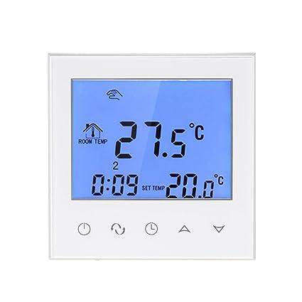 Decdeal Termostato de Calefacción Programable Smart WIFI Eléctrica con Pantalla Táctil Controlador de Temperatura con LCD