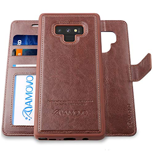 AMOVO Case for Galaxy Note 9 [2 in 1] Samsung Galaxy Note 9 Wallet Case [Detachable Folio] [Vegan Leather] [Wrist Strap] [Card Slot] [Kickstand] Note 9 Flip Case with Gift Box Package (Note 9, Brown)