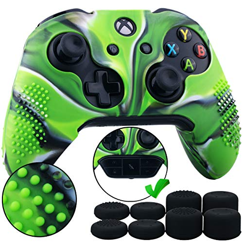 9CDeer 1 Piece of Studded Protective Silicone Cover Skin Sleeve Case + 8 Thumb Grips Analog Caps for Xbox One/S/X Controller Camouflage Green compatible with Official Stereo Headset Adapter