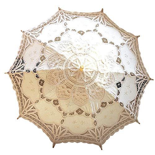 Lace Wedding Umbrella Parasol For Bride Cotton Fashion Wooden Handle Decoration Umbrella Ivory -