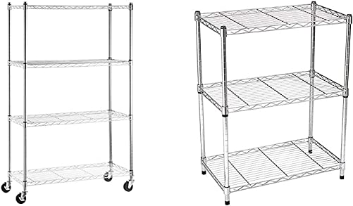 AmazonBasics 4-Shelf Shelving Storage Unit on 3 Wheel Casters, Chrome Silver 3-Shelf Adjustable, Heavy Duty Storage Shelving Unit 250 lbs per shelf , Steel Wire Rack, Chrome 23.3L x 13.4W x 30H