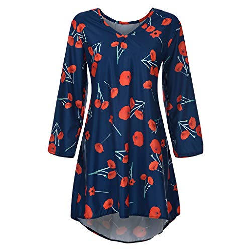 Plus Size Dresses for Women,2019 New Casual V Neck 3/4 Sleeve Loose Fit Floral Print Mini Dress (S, Blue) ()