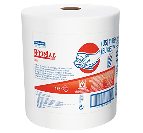 (Wypall X80 Reusable Wipes (41025), Extended Use Cloths Jumbo Roll, White, 475 Sheets / Roll; 1 Roll / Case)
