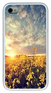 Canola flower1 TPU Case Cover for iPhone 4 and iPhone 4S White New Year gift