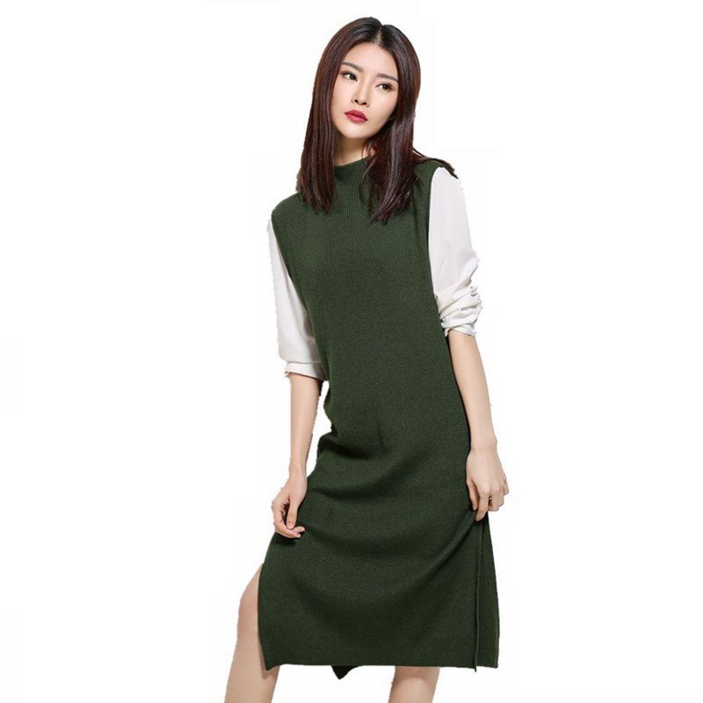 Mockneck Sleeveless Knitted Side Split Sweater Vest Dress for Women (Army Green-Jumper)