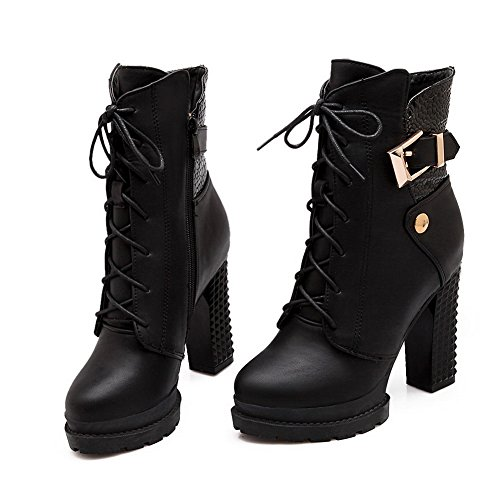 Bandage Womens Buckle Boots 1TO9 Leather Chunky Imitated Black Heels q5FU76U