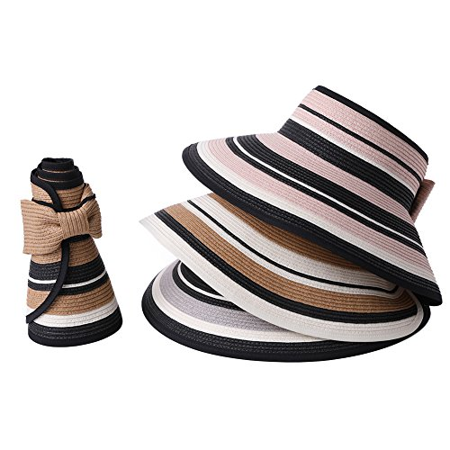 Straw Sun Visor Women Foldable Floppy Wide Brim Travel Hat Gardener Beach Hats Pink by Fancet (Image #7)