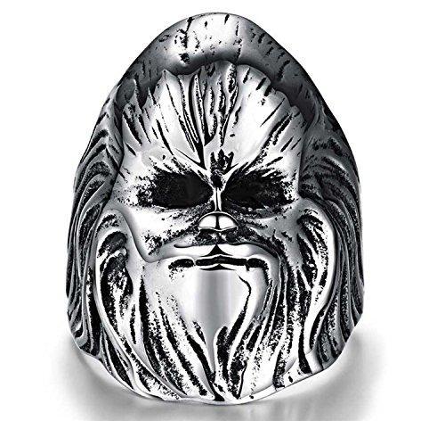 [Cherryn Jewelry Grim Reaper Skull Ride Motorcycle Ring Stainless Steel Jewelry Vintage Skull Motor Biker Men Ring Evil Sorcerer] (Fake Beards That Look Real)