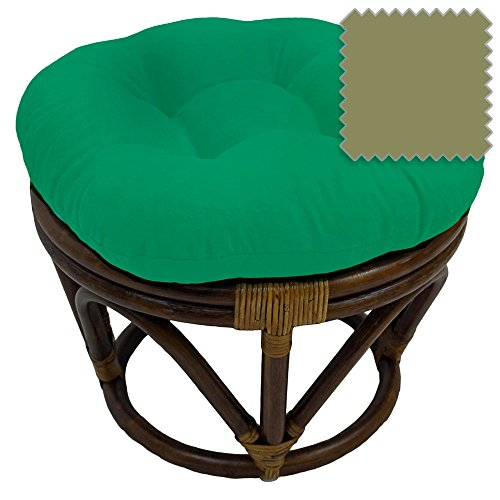 18-Inch Bali Rattan Papasan Footstool with Cushion - Solid Twill Fabric, Sage - DCG Stores Exclusive