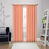 Solar Shield Microfiber Rod Pocket Light Filtering Window Curtain Panel (63-Inch, PAPAYA)