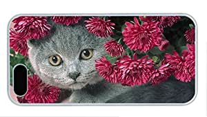 Fashion iphone 5S fashion cover Cat and flowers PC White for Apple iPhone 5/5S