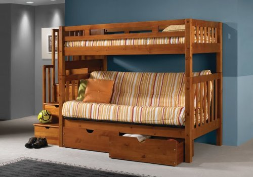 Tall Twin over Full Futon Mission Honey Stairway Bunk Bed with ()