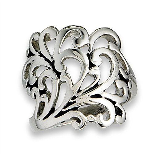 Filigree Swirl Wide Fashion Cutout Ring New Stainless Steel Cute Band Size (Wide Filigree Swirl Ring)