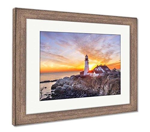 (Ashley Framed Prints Lighthouse On The Beach at Dawn, Wall Art Home Decoration, Color, 30x35 (Frame Size), Rustic Barn Wood Frame, AG6504838)