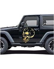 Finest Folia Doodshoofd sticker voertuig decor schedel folie voor auto, bus vrachtwagen caravan motorfiets motorvoertuig accessoires skelet sticker autosticker zelfklevend (goud metallic, (KX027) 80x60cm)