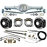 "NEW CURRIE X-BODY REAR END,FLANGED AXLES,WILWOOD 11"" DISC BRAKE KIT,DRILLED & SLOTTED BLACK CALIPERS,PARKING BRAKE CABLE KIT,HARDLINE KIT,COMPATIBLE WITH CHEVY II 1962-1967,NOVA,MONO-LEAF SPRINGS"