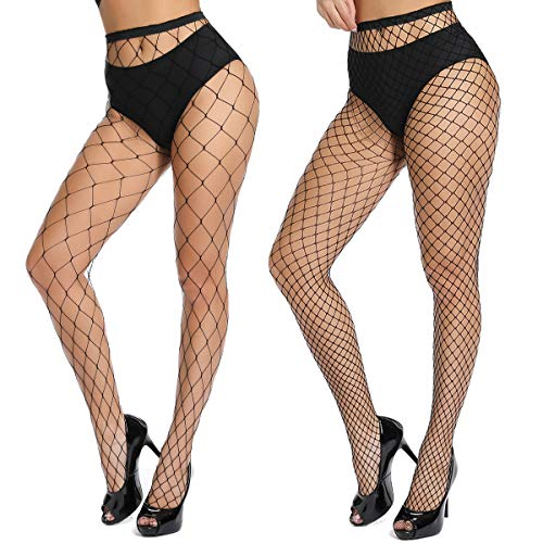 akiido High Waist Tights Fishnet Stockings Thigh High Stockings Pantyhose (1-single-sock-11) from akiido