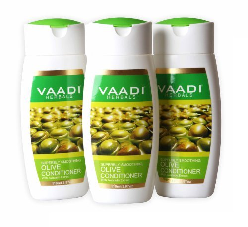 Silky Smooth Conditioner, Olive Oil Conditioner with Avocado Extract, Herbal Conditioner, Sulfate Free, Scalp Therapy, Moisture Therapy, Each 3.87 Ounces, 3.87 X 110ml (11.61 Ounces), Vaadi Herbals