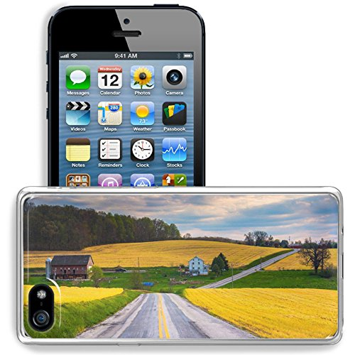 MSD Apple iPhone 5/iPhone 5S/iPhone SE Clear case Soft TPU Rubber Silicone Bumper Snap Cases iPhone5/5S IMAGE ID 34594088 Country road and view of farm fields and hills in rural - Hill Field Road