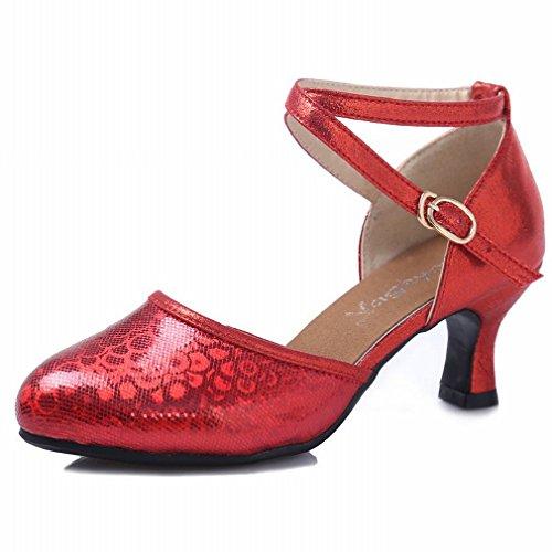 Zapatos Latino Adulto Sandalias Cuero Damas Moderno Modern la BYLE de 35 Roja Tobillo Samba Zapatos Jazz Zapatos de de Verano Baile Baile Plaza de 6AqPvvxw