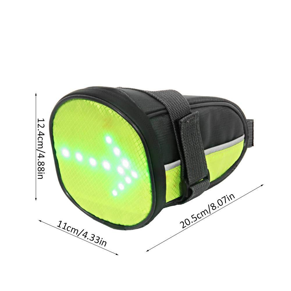 Sacchetto da Sella per Bici Luce Borsa da Sella per Ciclismo Indicatori di Direzione Luce di Avvertimento Riflettente per Sicurezza di Guida per Ciclismo
