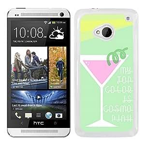 Funda carcasa para HTC One M7 diseño coctel cosmopolitan colores verde morado y amarillo borde blanco