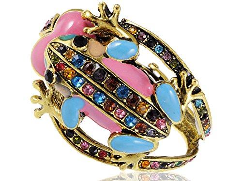 Alilang Womens Golden Tone Multicolored Rhinestones Pastel Spring Frog Bangle Bracelet