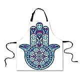 iPrint Custom Apron,Hamsa,Eastern Culture Belief Turkish Spiritual Symbol in Retro Arabian Style,Blue Light Blue Purple,Home Apron.29.5''x26.3''