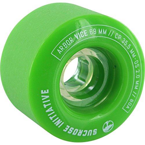 鉄道一致バスケットボールArbor Vice 69 mm 80 a Green Longboard Wheels ( Set of 4 )