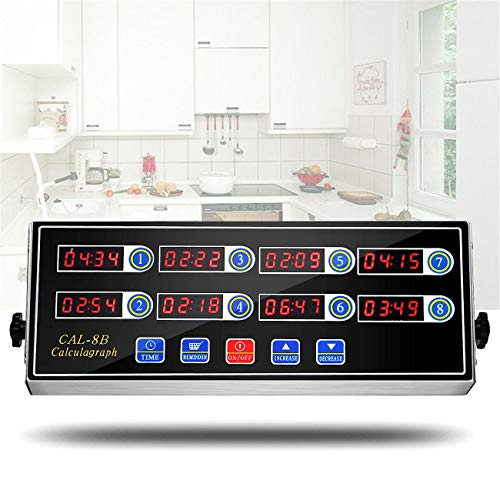 WICHEMI 8 Channel Digital Kitchen Timer Reminder Burger Cooking Timming Loud Ring Alarm Stainless Steel Calculagraph Timers for Commercial Restaurant