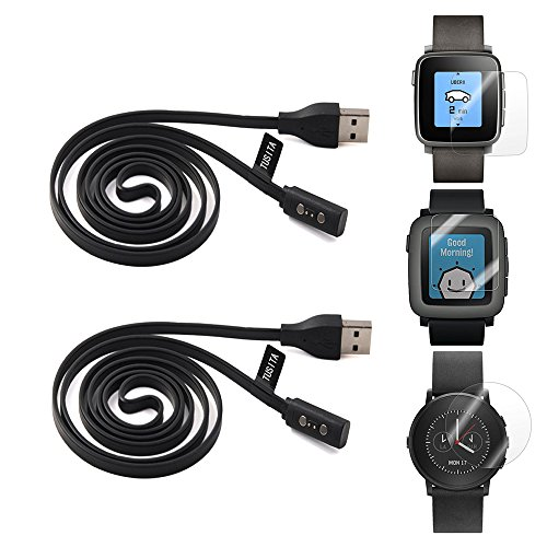 2-pack-pebble-time-charging-cable-with-screen-protector5ft-tusita-replacement-usb-charge-charger-wir
