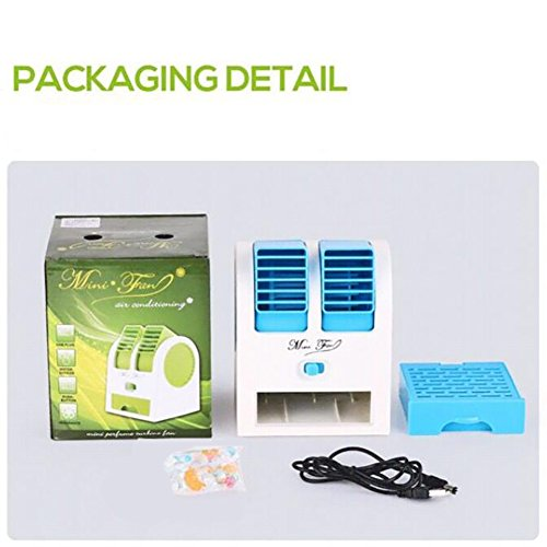 JiaQi Mini Air Conditioning,Portable Air Cooler,Cooling Small Fan Usb Office Humidifier Hostel-Blue 12x11x15cm(5x4x6inch) by JiaQi (Image #4)