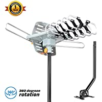 HDTV Antenna-SKYTV Amplified Digital TV Antenna 150 Miles Range 360° Rotation Outdoor Digital TV Antenna-Wireless Remote with adjustable mount pole