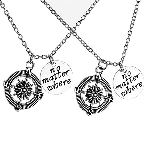 Compass Friendship Pendant Necklace Jewelry