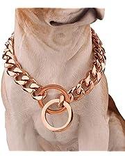 "12mm Hip Hop Rose Gold Pet Dog 316L Stainless Steel Choke Chain Choker Collar Cuban Curb Necklace Training Slip Collar 12-34"",14inch"