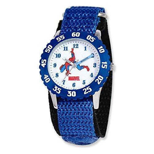Marvel Spiderman Kids Blue Velcro Band Time Teacher Watch