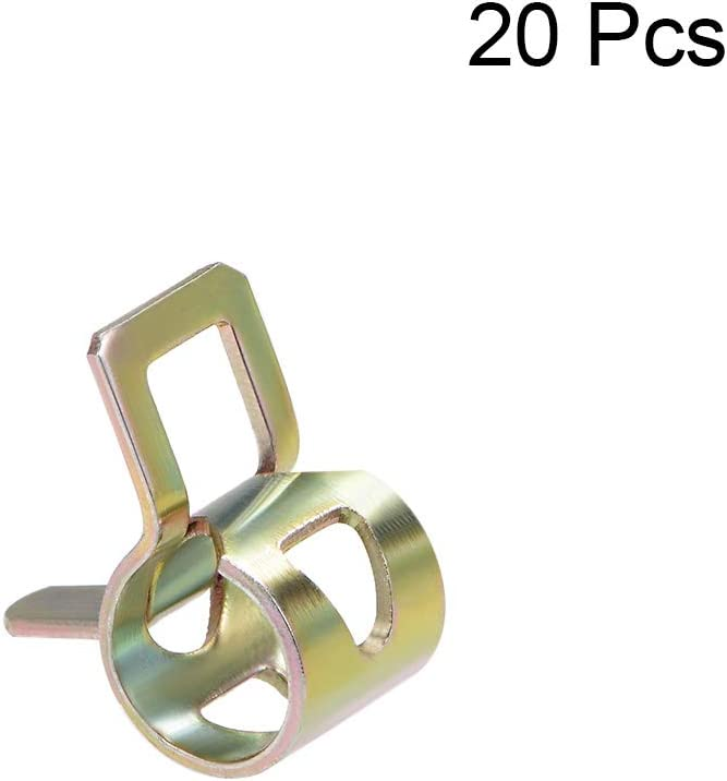 uxcell Steel Band Clamp 7mm for Fuel Line Silicone Hose Tube Spring Clips Clamp Color-zinc Manganese Steel 20Pcs