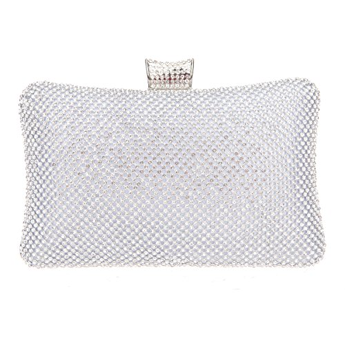 Fawziya Big Evening Bags For Women Rhinestone Crystal Clutch Bag-Silver
