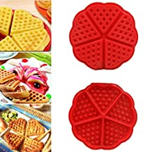 ZJCilected Heart-Shaped Silicone Waffle Mold Cake Cookie Muffin Chocolate Bakeware Baking Tool, Red