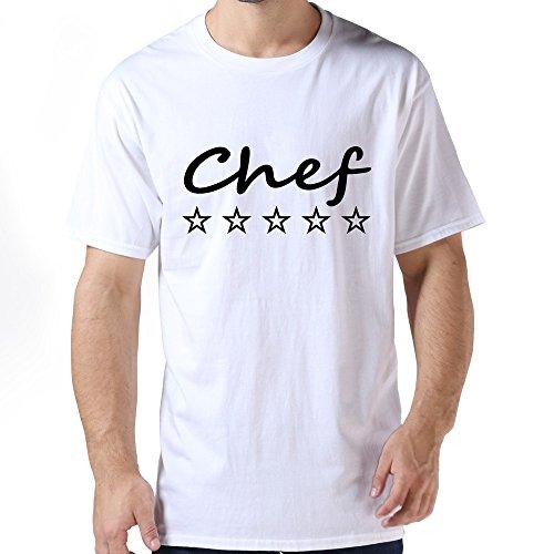 Customized Mens 5 Stars Chef T Shirt White Size S