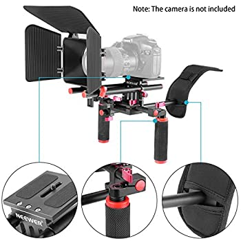 Neewer Camera Movie Video Making Rig System Film-maker Kit For Canon Nikon Sony & Other Dslr Cameras, Dv Camcorders,includes: Shoulder Mount, Standard 15mm Rail Rod System, Matte Box (Red & Black) 3