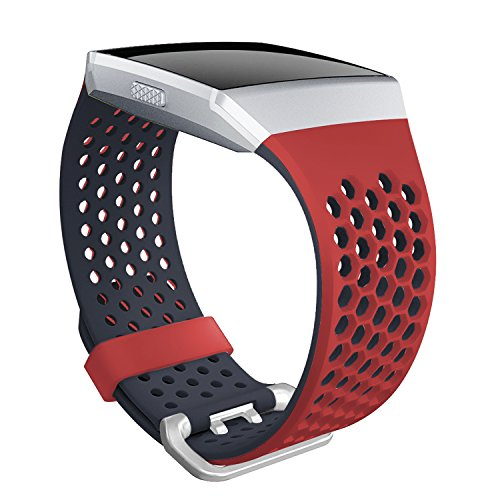 For Fitbit Ionic Bands, SKYLET Soft Silicone Breathable Replacement Wristband for Fitbit Ionic Smart Watch with Buckle (No Tracker)[Red-Black, - Rb Tracking Number