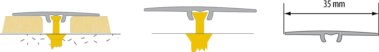 CEZAR W de Al lwp35/T-shirt 090/Protection Barre///übergangsschiene//seuil de porte plat avec stratifi/é//bois Chevilles 35/mm teck
